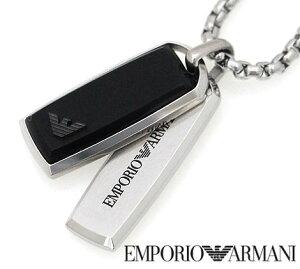 EMPORIO ARMANI エンポリオ アルマーニ アクセサリー イーグルロゴ ダブルプレート ブラック×シルバー ネックレス/ペンダント EGS229004...