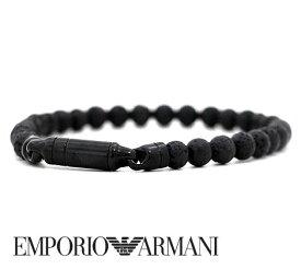 EMPORIO ARMANI エンポリオ アルマーニ EGS2479001 ビーズ付 アクセサリー ブレスレット イーグルロゴ ブラック【送料無料】