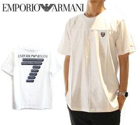 EMPORIO ARMANI エンポリオ アルマーニ 3GPT72 PJP6Z 1100 EA7 イーエーセブン  ストレッチコットン Tシャツ メンズ 半袖 ロゴT ホワイト【送料無料】