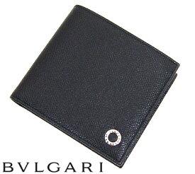 0680c957cace BVLGARI ブルガリ グレインレザー ブルガリブルガリ 小銭入れ付 二つ折り財布 メンズ用 ブラック 30396