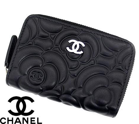 CHANEL シャネル A82551 BLACK カメリア ラムスキン ラウンドファスナー コインパース/コインケース 小銭れ ブラック【送料無料】