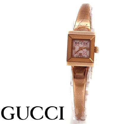 GUCCI  グッチ レディース Gフレームスクエア ウォッチ 腕時計 バングルタイプ ピンクゴールド×ピンクシェル文字盤 YA128518【送料無料】