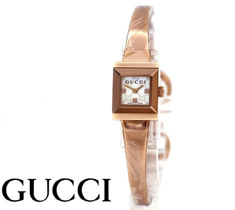 GUCCI  グッチ レディース Gフレームスクエア ウォッチ 腕時計 バングルタイプ ピンクゴールド×ホワイトシェル文字盤 YA128517【送料無料】