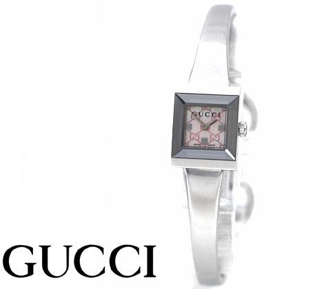 GUCCI  グッチ レディース Gフレームスクエア ウォッチ 腕時計 バングルタイプ シルバー×ピンクシェル文字盤 YA128516【送料無料】