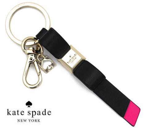kate spade ケイトスペード リボン キーリング/キーフォブ キーホルダー ブラック×ピンク WORU0068 026【送料無料】