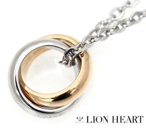 LION HEART ライオンハート 04N124SL ステンレス メンズ/レディース ダブル 2連リング ネックレス/ペンダント キュービックジルコニア シルバー×ピンクゴールド【送料無料】