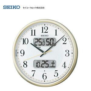 【限定特価】 セイコー(SEIKO) 液晶付き夜間自動点灯電波掛け時計 KX384S 【条件付送料無料】 カレンダー、温度計・湿度計付 夜光タイプ/おしゃれな壁掛け電波時計/電波掛時計/贈り物/プレゼ