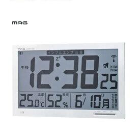 【限定特価】 ノア精密 MAG デジタル電波掛け時計 エアサーチ メルスター W-602 【条件付送料無料】 カレンダー・温度・湿度表示付き掛時計・壁掛け時計・置き時計・置時計・電波時計・チャイムクロック・環境表示・置き掛け兼用