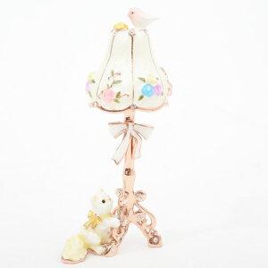 ジュエリーケース ジュエリーボックス 宝石箱宝箱 亜鉛合金 合金 クリスタスガラス ランプ ネコ 小鳥 白 ホワイト スタンドランプ