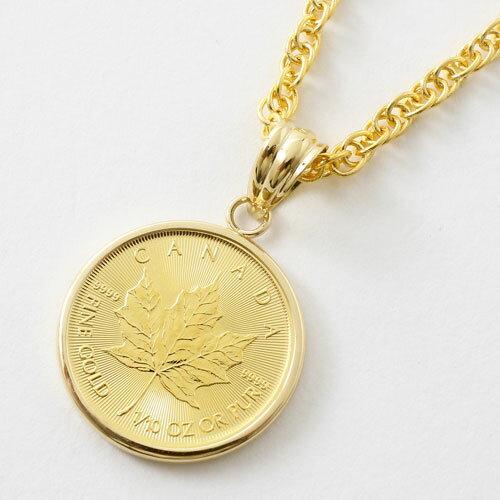 【送料無料】純金 K24 18金枠 メイプルリーフコイン40〜60cm 縄チェーン 【1/10オンス】メダル コイン 金貨 ペンダント【smtb-k】