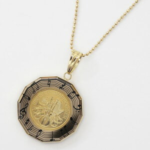 音符のデザイン枠が可愛い純金(K24) 18金枠 オーストリア ウィーンハーモニー両面ガラス入り【1/25オンス】コインペンダント 金貨 メダル