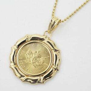 上品なカエデとエリザベス純金(K24) メイプルリーフ 1/4 コイン 金貨 ペンダント