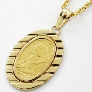 ◇大特価!!◇【デザイン枠】 スイス製 純金 オーバル コイン ペンダント マリア