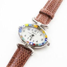 【送料無料】【イタリア製】ベネチアンガラス ベネチアングラス 時計 腕時計 ウォッチブラウン 茶 ベルト 手作り ハンドメイド【smtb-k】