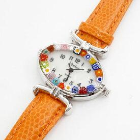 【送料無料】【イタリア製】ベネチアンガラス ベネチアングラス 時計 腕時計 ウォッチオレンジ 橙 ベルト 手作り ハンドメイド【smtb-k】