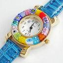 ベネチアンガラス/ベネチアングラス/時計/腕時計/ウォッチブルー/ベルト/手作り/ハンドメイド【smtb-k】