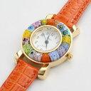 【送料無料】【イタリア製】ベネチアンガラス/ベネチアングラス/時計/腕時計/ウォッチオレンジ/ベルト/手作り/ハンド…