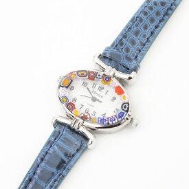 【イタリア製】ベネチアンガラス ベネチアングラス 時計 腕時計 ウォッチブラックブルー 濃い青 紺 ベルト 手作り ハンドメイド【smtb-k】