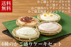 お取り寄せ 4種のかご盛ケーキセット (レアチーズケーキ ティラミス レアチーズケーキ メロンレアチーズ北海道産 いかそうめん たれ 生姜 冷凍 誕生日 返礼品 ギフト プレゼント 北海道グル