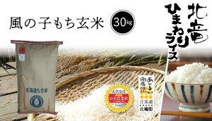 ★新米★【令和3年産】北海道北竜町産 農薬節減米 風の子もち 玄米 30kg 【送料無料】