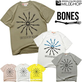 bones/オリジナル半袖Tシャツ/オリジナル/ロゴ/ロック/スカル/キャラクター/音楽/アニマル/シンプル/デザイン/メッセージ/ピース【cloth】MILDCHOP by JACA JACA