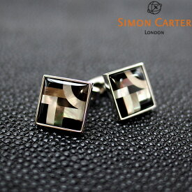SIMON CARTER サイモンカーター カフス カフリンクス カフスボタン BAUHAUS ブラック×シルバー サイモンカーター カフス カフスボタン メンズ