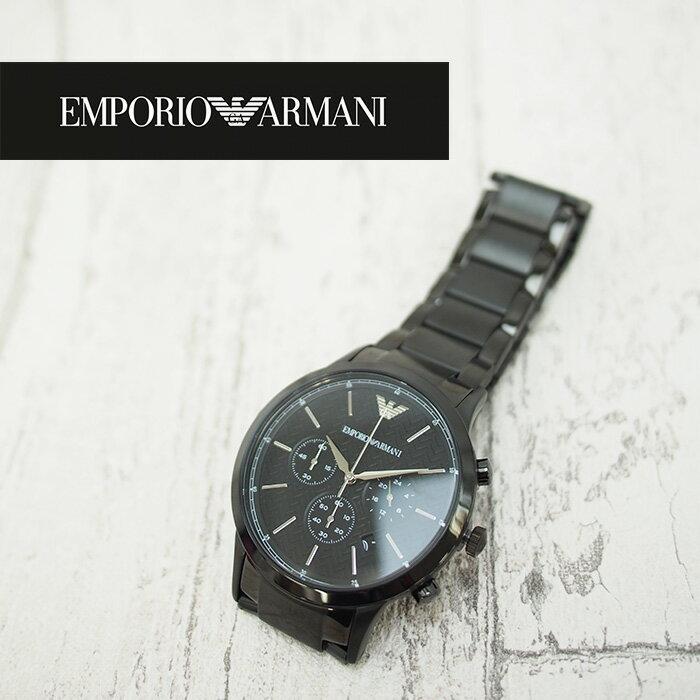 EMPORIO ARMANI エンポリオアルマーニ メンズ腕時計 43mm クロノグラフ AR2485 ブラック エンポリオアルマーニ 時計