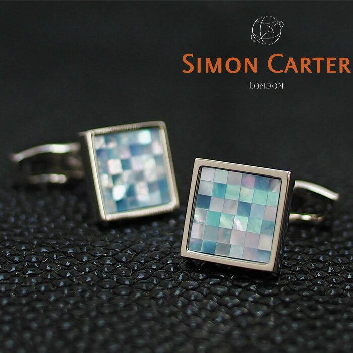 SIMON CARTER サイモンカーター カフス カフリンクス カフスボタン SMALL SQUARE CHEQUER BLUE MOP/ブルー×シルバー サイモンカーター カフス