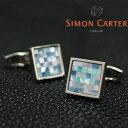 SIMON CARTER サイモンカーター カフス カフリンクス カフスボタン SMALL SQUARE CHEQUER BLUE MOP/ブルー×シルバー サ...