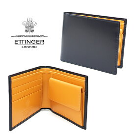 ETTINGER エッティンガー 二つ折り財布 小銭入れ付き ネイビー×イエロー 141JR NAVY BRIDLE エッティンガー 財布