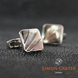 SIMON CARTER サイモンカーター カフス カフリンクス カフスボタン DECO FAN グレー×シルバー GREY MOP サイモンカーター カフス