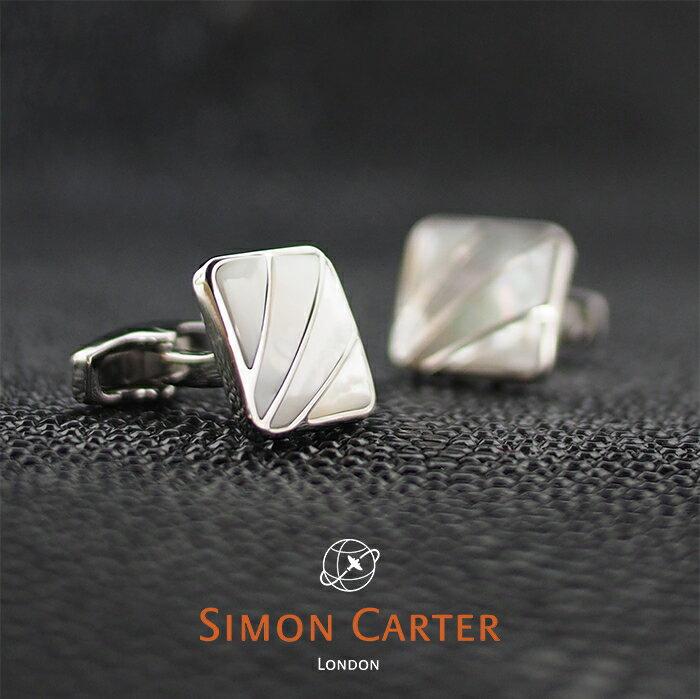 SIMON CARTER サイモンカーター カフス カフリンクス カフスボタン DECO FAN ホワイト×シルバー WHITE MOP サイモンカーター カフス