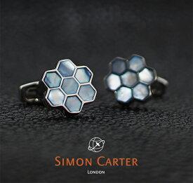 SIMON CARTER サイモンカーター カフス カフリンクス カフスボタン HONEY COMB ブルー×シルバー BLUE MOP 蜂の巣 ハチの巣 サイモンカーター カフス カフスボタン メンズ