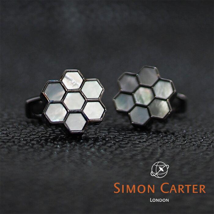 SIMON CARTER サイモンカーター カフス カフリンクス カフスボタン HONEY COMB ホワイト×ガンメタ WHITE MOP 蜂の巣 ハチの巣 サイモンカーター カフス