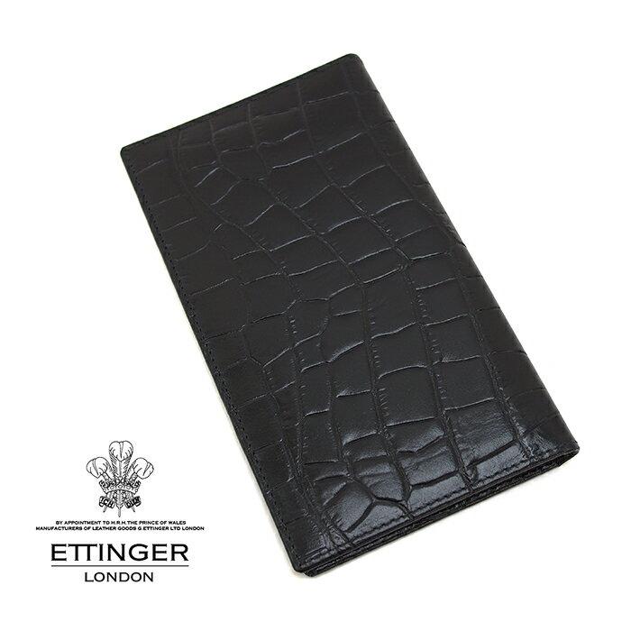 ETTINGER エッティンガー CROCO COLLECTION/クロココレクション 806AJR EBONY クロコ型押し長財布 札入れ ブラック