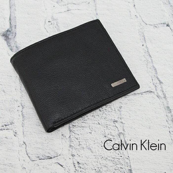 Calvin Klein カルバンクライン 本革レザー ロゴプレート付き 二つ折り財布 小銭入れ付き ブラック 79215 カルバンクライン 財布