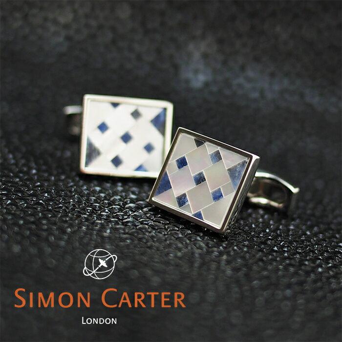 SIMON CARTER サイモンカーター カフス カフリンクス カフスボタン CUBIST MOSAIC SODALITE/ブルー×シルバー サイモンカーター カフス