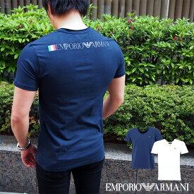 EMPORIO ARMANI エンポリオ アルマーニ 半袖VネックTシャツ 全2色 111767 9P510 バックプリント アルマーニ tシャツ イタリア国旗
