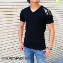 EMPORIO ARMANI エンポリオ アルマーニ 半袖VネックTシャツ 00020/ブラック 111760 9A725 アルマーニ tシャツ