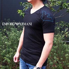 EMPORIO ARMANI エンポリオ アルマーニ 半袖VネックTシャツ ブラック 111760 0P725 アルマーニ tシャツ