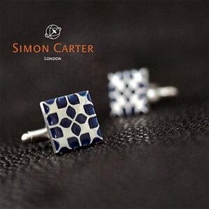 SIMON CARTER サイモンカーター カフス カフリンクス カフスボタン WEST END ENAMEL FLORAL SQUARE NAVY/ネイビー×シルバー サイモンカーター カフス スクエアカフス 結婚式 ビジネス プレゼント 贈り物
