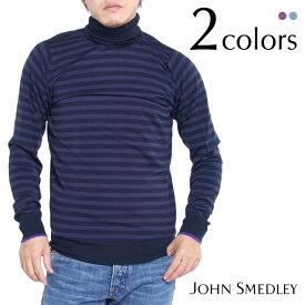 JOHN SMEDLEY ジョンスメドレー RUSTON ボーダー メンズタートルネックニット 全2色