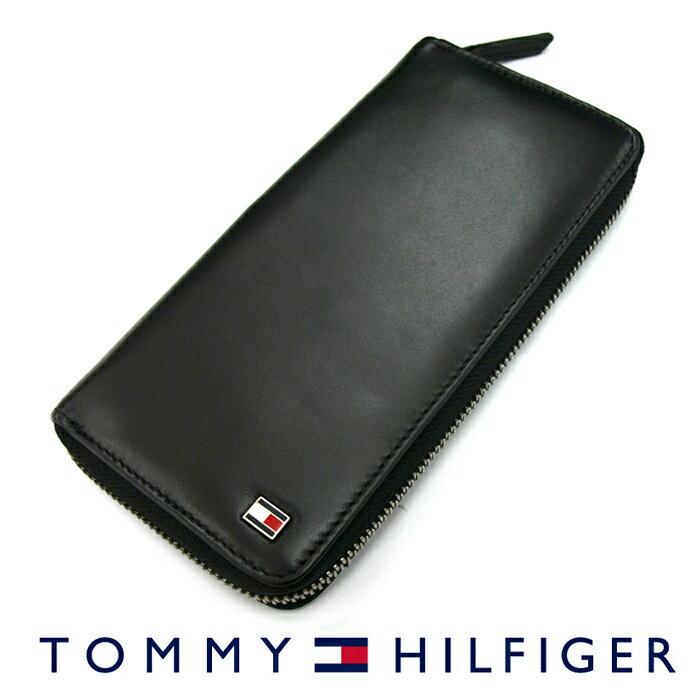 TOMMY HILFIGER トミーヒルフィガー 31TL13X009 ラウンドファスナー長財布 ブラック