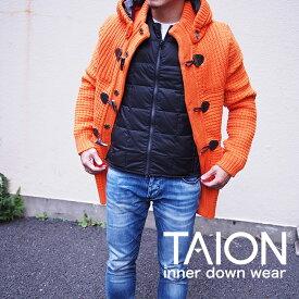 TAION タイオン メンズ インナーダウン ダウンベスト 全2色 軽量 収納袋付 インナーベスト 防寒 クルーネックWジップ インナーダウン メンズ