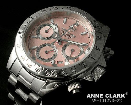 【送料無料】ベルト調整工具付き!アンクラーク・デイトナ レディース腕時計ピンク ANNE CLARK天然ダイヤモンド入り