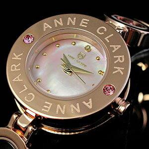 【送料無料】【ANNE CLARK】アンクラーク・レディース腕時計ピンクゴールド チャーム入り 天然ピンクシェル文字盤 AT-1008-17PG