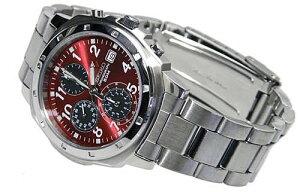 SEIKOメンズ腕時計バックル名入れ彫刻レッドセイコークロノグラフメタリックレッド(SEIKOSND495PC)父の日・還暦祝い・誕生日プレゼントに最適☆