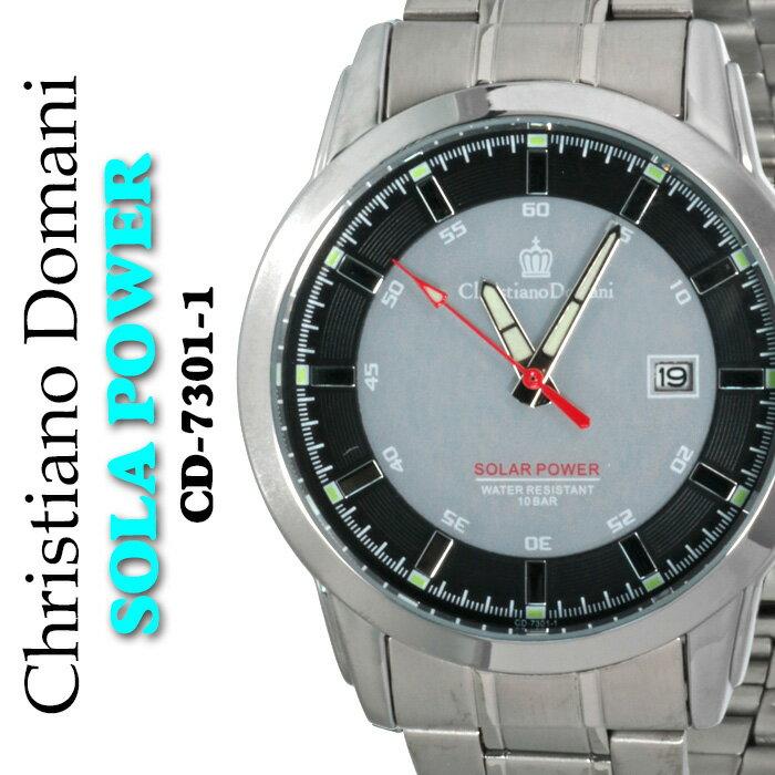 メンズ腕時計Chrisutiano Domani クリスチャンドマーニソーラーパワー10気圧防水 CD-7301-1 送料無料【腕時計】【メンズ】