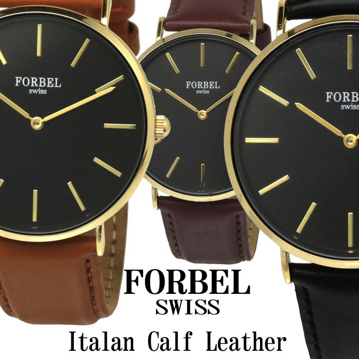 腕時計 メンズ FORBEL フォーベル メンズ腕時計 イタリアンレザー カーフレザーベルト×ブラックフェイス 送料無料