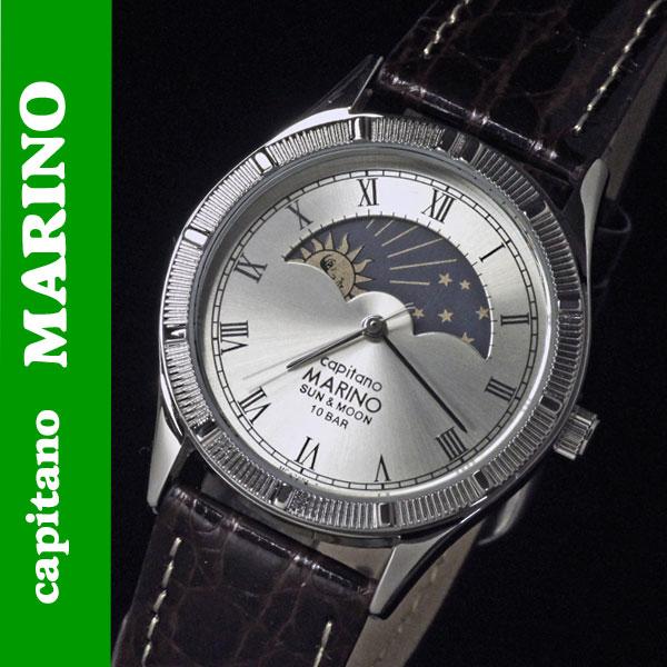 送料無料 腕時計メンズ MARINO capitano(マリノキャピターノ) サン&ムーン レザーバンド ブラウン MC-281M-5